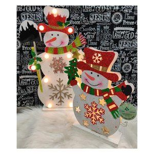 Pair of Light Up Christmas Snowmen NWT